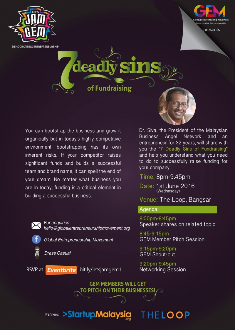 Let's Jam@GEM Series 1: 7 DEADLY SINS of FUNDRAISING